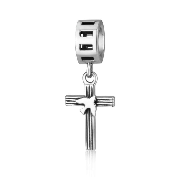Sterling Silver Cross with Dove Hang Bead Charm