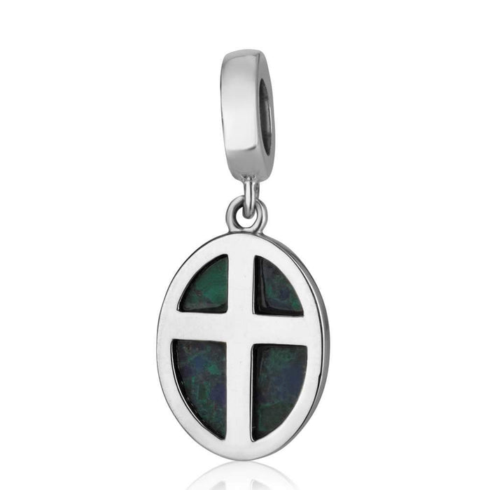 Sterling Silver and Eilat Stone Cross Pendant Charm made in the Holy Land