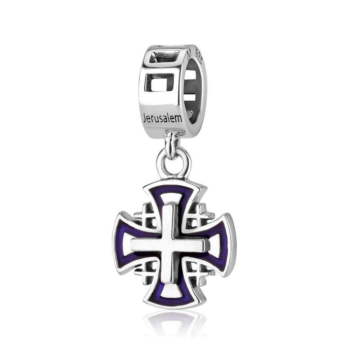 Sterling Silver Jerusalem Cross  Hang Bead Charm With Blue Enamel