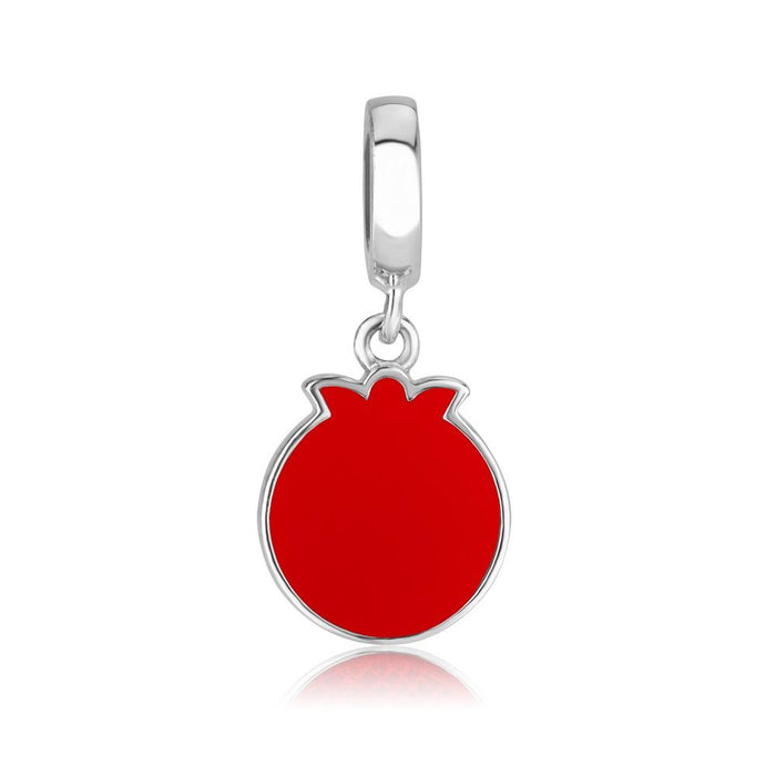 Sterling Silver 925 Red Enamel Pomegranate Hang Bead Charm