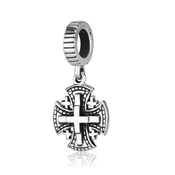 Jerusalem cross Hang Bead Charm Sterling Silver made in the Holy Land