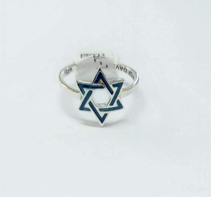 Sterling Silver 925 Green-Blue Enamel Star of david Ring