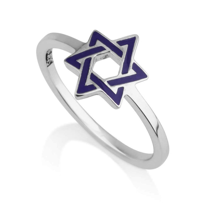 Sterling Silver 925 Blue enamel Star of david Ring