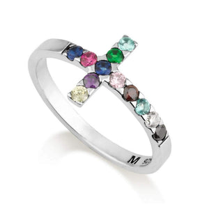 Cross ring sterling silver 925 multi colors stones made in the Holy Land