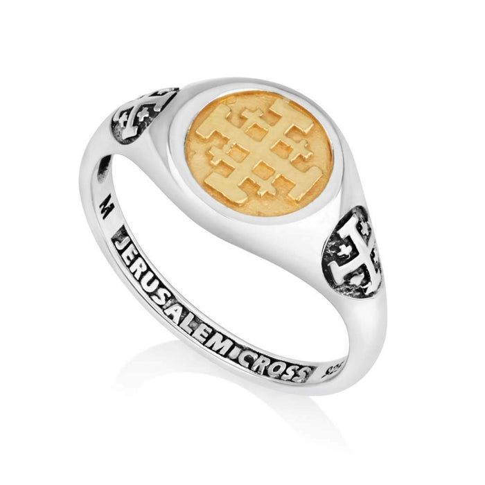 Gold Silver  Jerusalem cross Ring