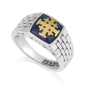 sterling silver 925 with Azurite stone and Gold plated Jerusalem cross made in the Holy Land