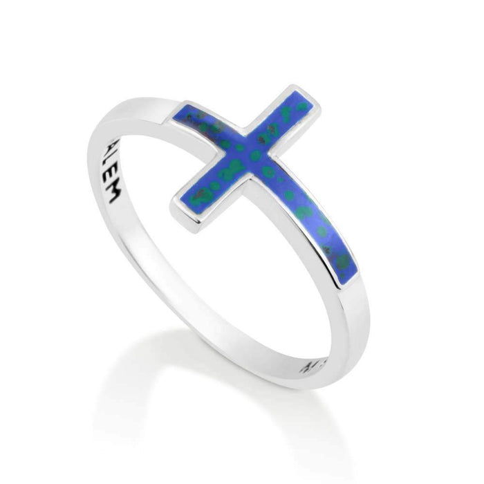 925 Sterling Silver Christian Ring Cross green-blue enamel made in the Holy Land