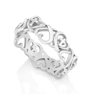 Silver Cross heart shaped  Ring  made in the Holy Land