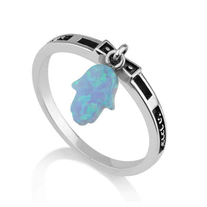Sterling Silver 925 Blue Opal Hamsa Ring