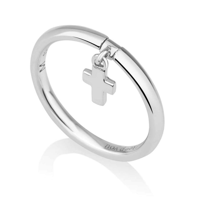 Sterling silver ring with cross made in the Holy Land
