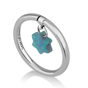 Sterling Silver 925 Blue Opal Star of david Ring