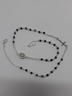 Black Crystal Thin Rosary Necklace