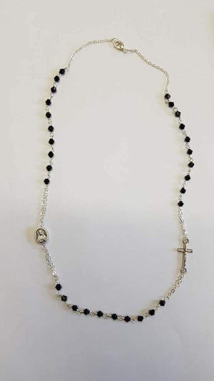 Black Thin Rosary Necklace