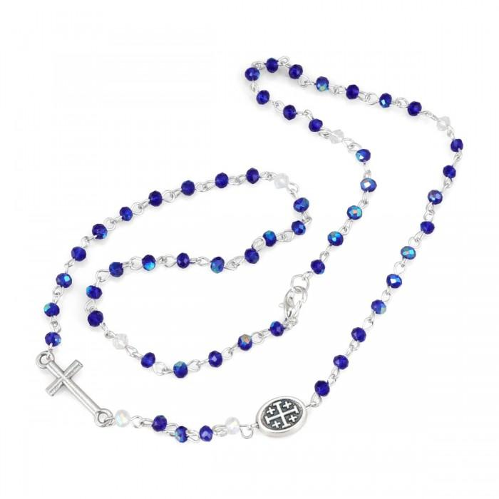 Blue Thin Rosary Necklace