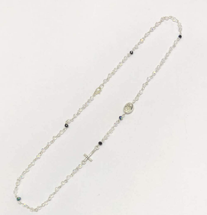 Crystal Thin Rosary Necklace