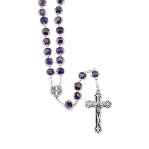 Blue Rosary Jerusalem Cross Necklace