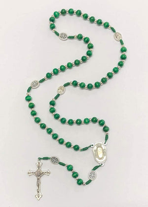Green Rosary Wood Necklace
