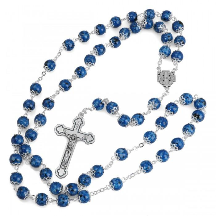 Blue Rosary Necklace