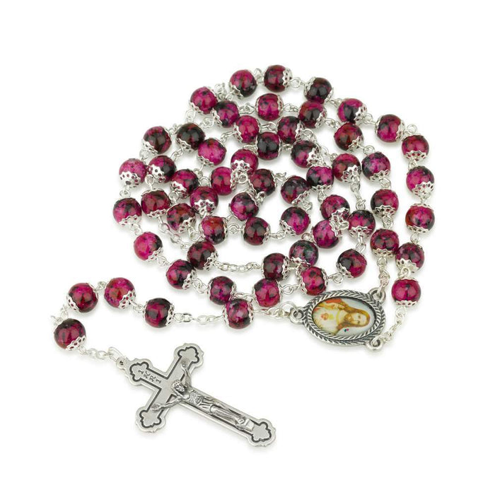 Hand Painted Ruby Glass Necklace Rosary, Sacred Heart Center, Silver Plate Chain, Crucifix by Marina Jewelry. EAN 660042197078