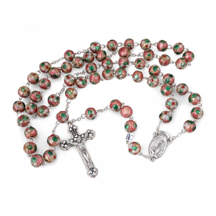 Pink Cloisonne Expensive Rosary Necklace