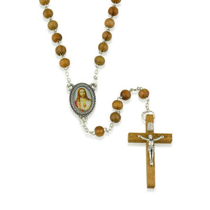Genuine Olive Wood Necklace Rosary,Sacred Heart Center,Silver Plate Chain,Wood Crucifix,by Marina Jewelry. EAN 660042197030