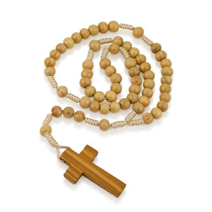 Genuine Olive Wood Smooth Round Bead and Cord Necklace Rosary, Plain Wood Crucifix, by Marina Jewelry. EAN 660902680801
