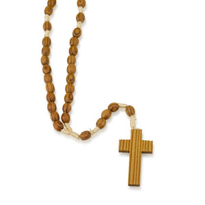 Genuine Olive Wood Oval Bead and Wrapped Cord Necklace Rosary, Plain Wood Crucifix, by Marina Jewelry.  EAN 660902680825