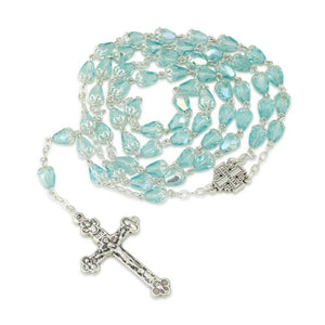 Faceted Iridescent Ice Blue Glass Necklace Rosary,Jerusalem Cross,Silver Plate,Crucifix,by Marina Jewelry. EAN 660042197054