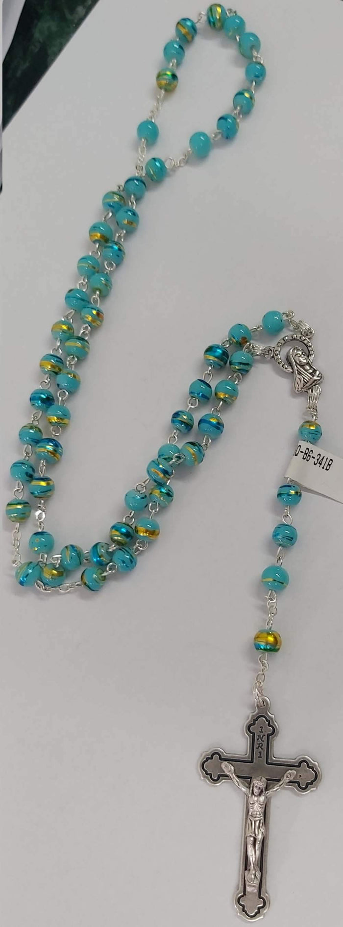 Aqua Rosary Necklace