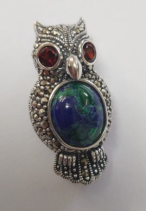 Sterling silver beaded Marcasite stones with oval Eilat stone and Garnet stones Owl Brooch