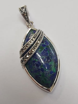 Eilat stone teardrop shape silver pendant with Marcasite stones