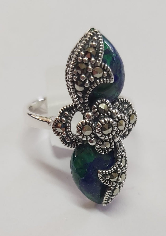 Spike filigree adorned Eilat stone with Marcasite stones silver ring