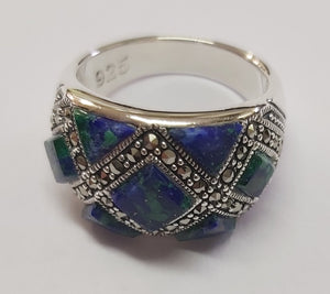 Sterling Silver 925 Azorite-Marcasite Jewellery Ring