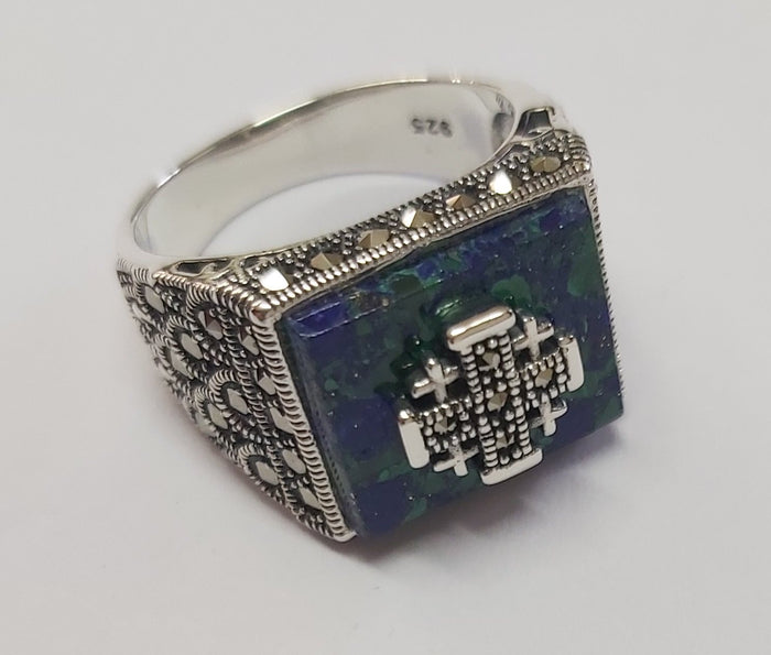 Sterling Silver 925 Azorite-Marcasite Jerusalem cross Ring