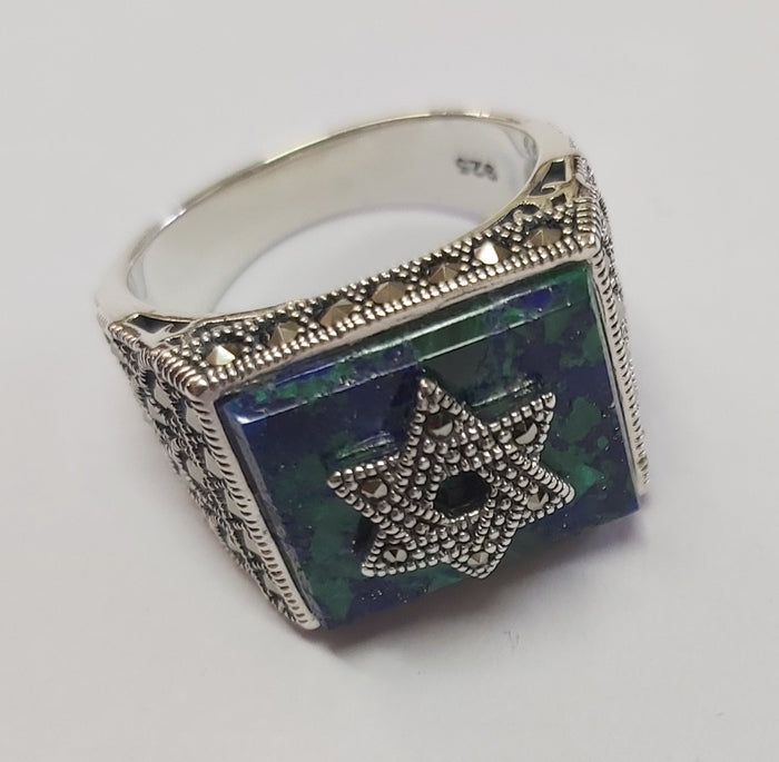 Sterling Silver 925 Azorite-Marcasite Star of david Ring