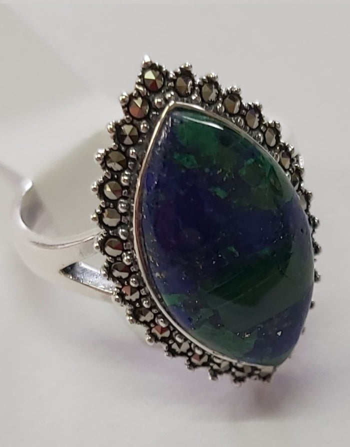 Lozenge shaped Eilat stone silver ring with Marcasite stones