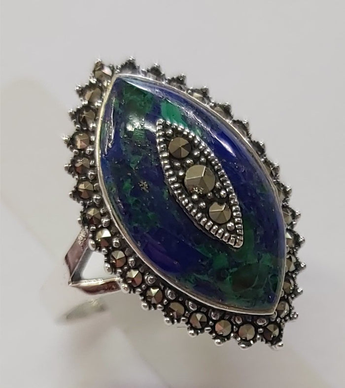 Eilat stone teardrop shape silver ring with Marcasite stones