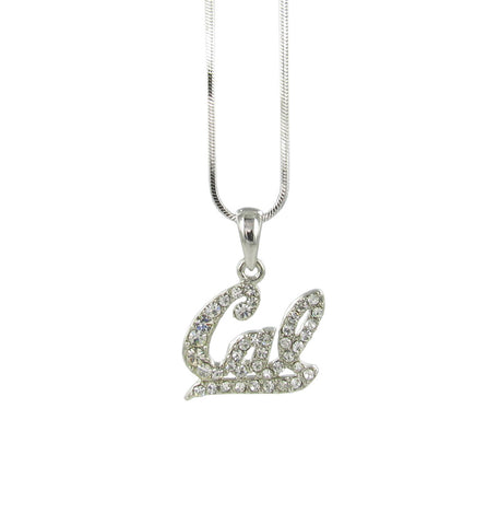 Clear Crystal Cal Script Pendant Necklace