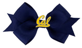 Gold Enamel Cal Small Navy Ribbon Bow Alligator Clip