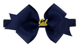 Gold Enamel Cal Medium Navy Ribbon Bow Elastic Hairband