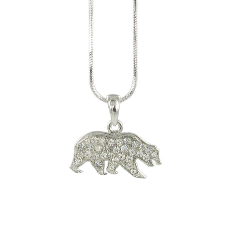 Clear Crystal Cal Bear Logo Pendant Necklace