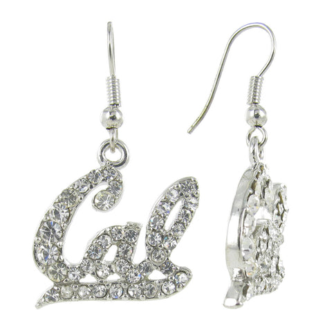 Clear Crystal Cal Script Fish Hook Earrings