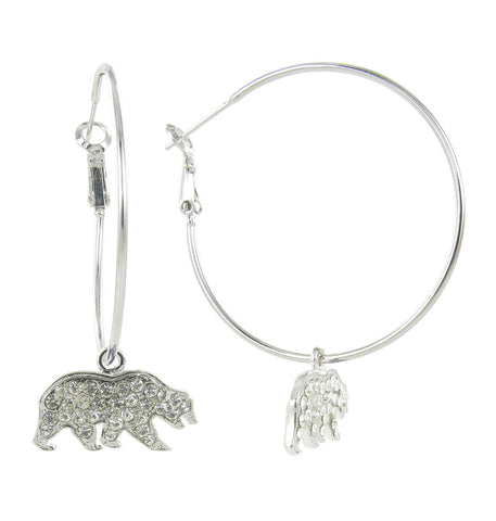 Clear Crystal Cal Bear Logo Hoop Earrings