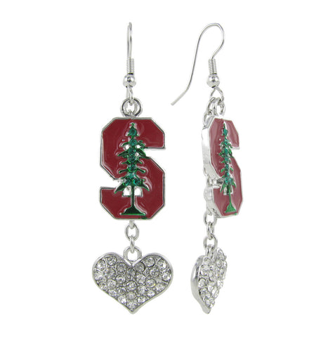 Red and Green Stanford Love Fish Hook Earrings