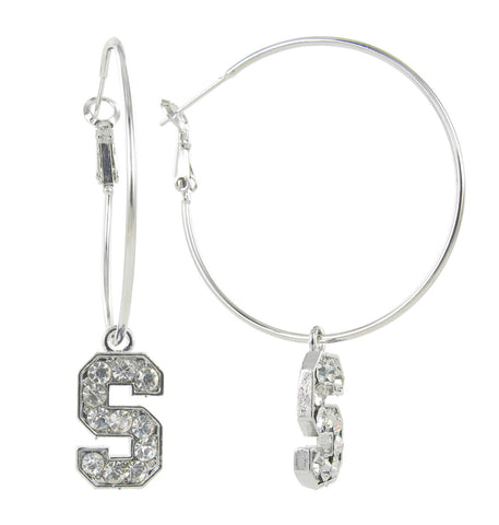 Clear Crystal Stanford S Logo Hoop Earrings