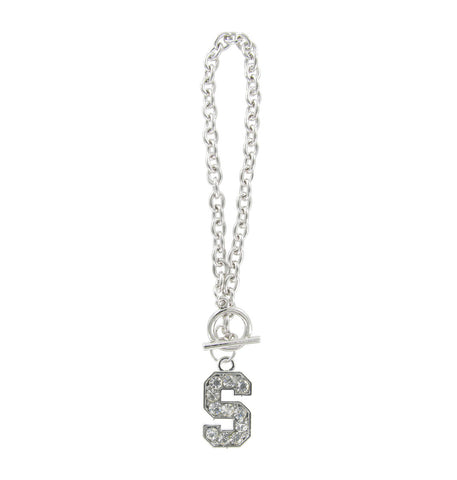 Clear Crystal Stanford S Logo Toggle Chain Bracelet