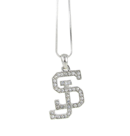 Clear Crystal San Jose State SJ Logo Pendant Necklace