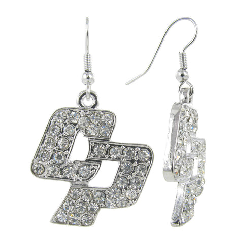 Clear Crystal Cal Poly San Luis Obispo CP Fish Hook Earrings