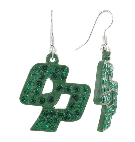 Dark Green Crystal Cal Poly San Luis Obispo CP Fish Hook Earrings