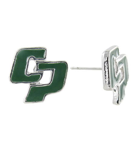 Mini Dark Green Cal Poly San Luis Obispo CP Stud Earrings
